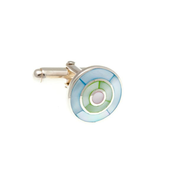 Blue, Green And Pink Mother Of Pearl And .925 Solid SilvBlue, Green And Pink Mother Of Pearl And .925 Solid Silver Target Cufflinks by Elizabeth Parker England