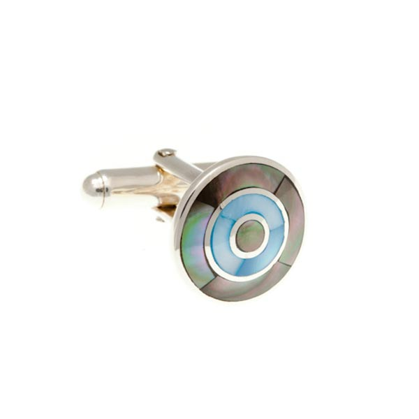 Mother Of Pearl and .925 Solid Silver Target Cufflinks by Elizabeth Parker England