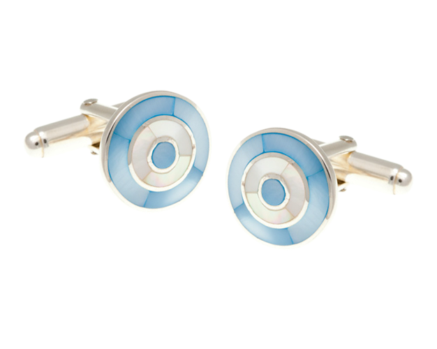 Solid Silver Blue White Mother Of Pearl Target Cufflinks
