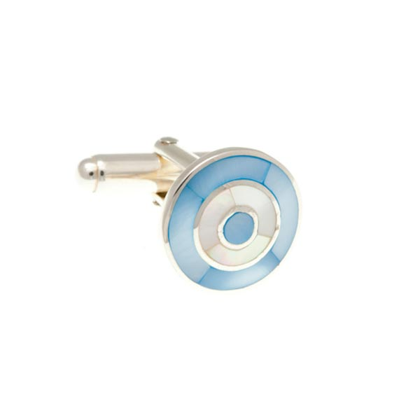 Blue And White Mother Of Pearl .925 Solid Silver Target Cufflinks by Elizabeth Parker England