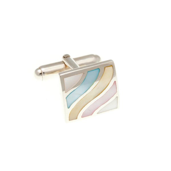 Square Wave With 4 Shades Of Mother Of Pearl .925 Solid Silver Cufflinks - by Elizabeth Parker England