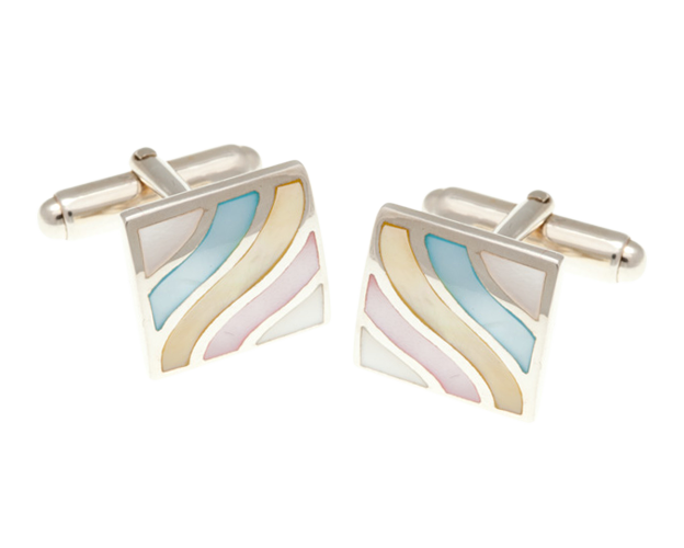 Solid Silver Subtle Wave Mother Of Pearl Cufflinks