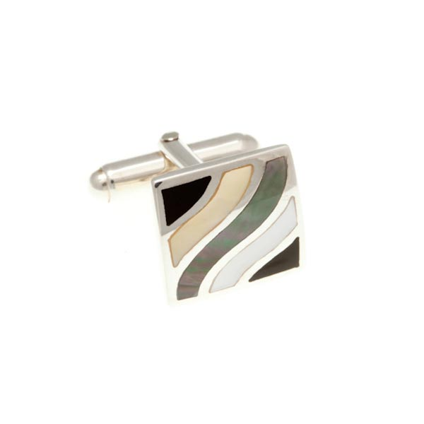 Subtle Wave Semi Precious Stone And .925 Solid Silver Cufflinks by Elizabeth Parker England