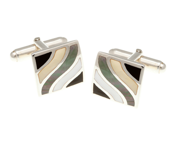 Solid Silver Subtle Wave Multi Mother of Pearl Onyx Cufflinks