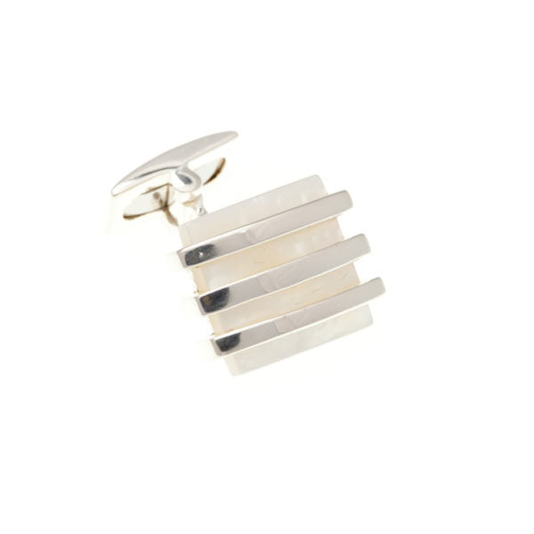 Bands Of Solid Silver on Mother of Pearl square cufflinks by Elizabeth Parker