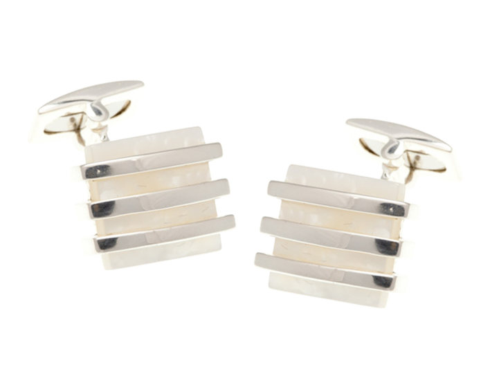 Bands Of Silver Mother Of Pearl Square Cufflinks