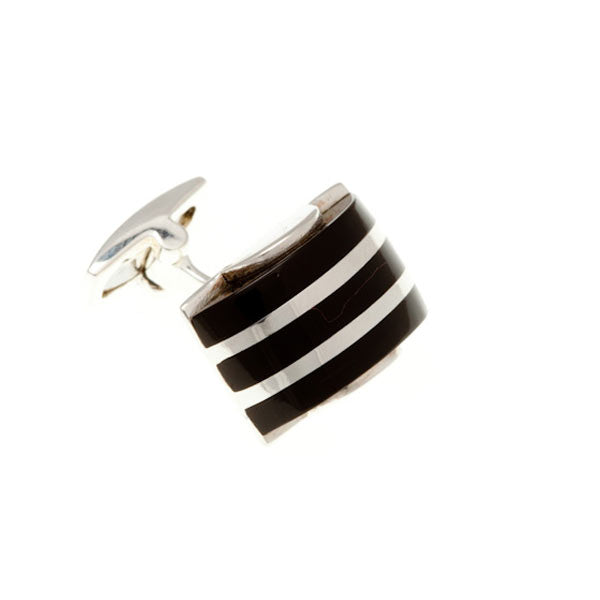 Black Onyx and .925 Solid Silver Domed Stripe Cufflinks by Elizabeth Parker England