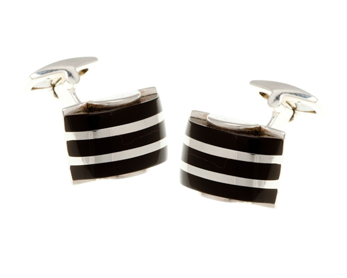 Solid Silver Onyx Striped Dome Cufflinks