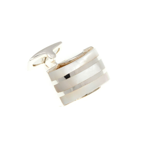 Silver Mother Of Pearl Domed Stripe  .925 Solid Silver Cufflinks - by Elizabeth Parker England