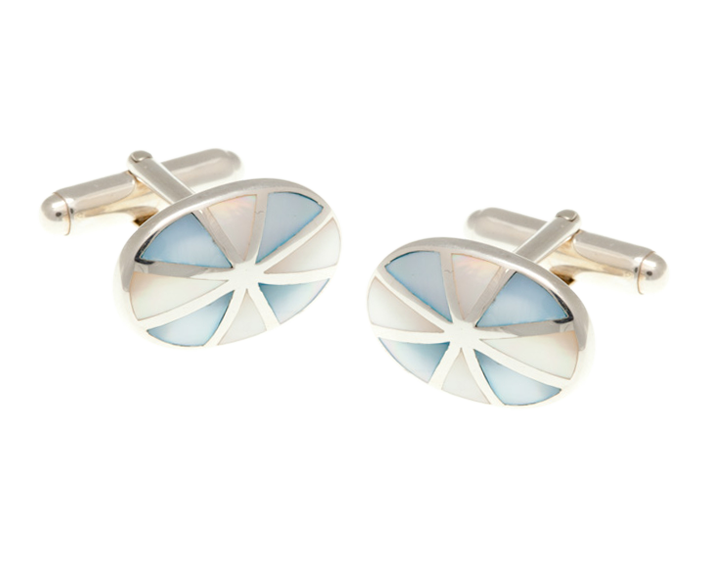 Solid Silver Sunray Mother of Pearl Cufflinks