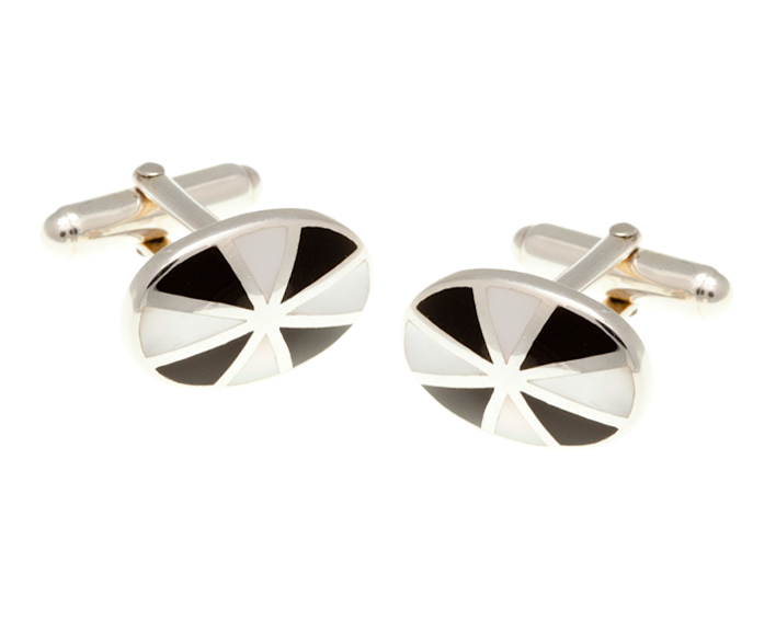 Solid Silver Sunray Mother of Pearl Onyx Cufflinks