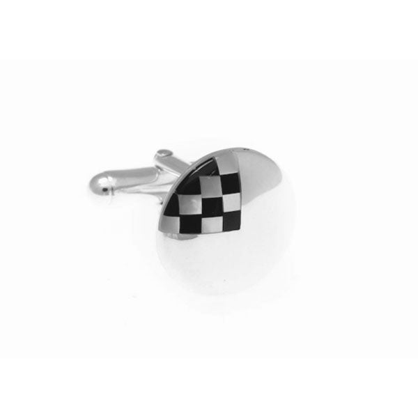 Round Mother Of Pearl and .925 Solid Silver Cufflinks With Chequered Detailing by Elizabeth Parker