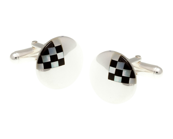Solid Silver Mother Of Pearl Chequered Cufflinks