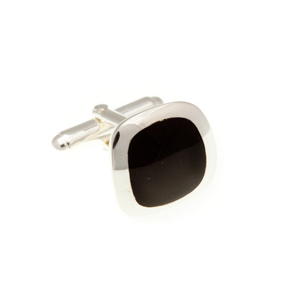 Soft Square .925 Solid Silver Cufflinks with Black Onyx Insert by Elizabeth Parker England
