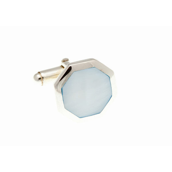 Octagonal Blue Mother Of Pearl and .925 Solid Silver Cufflinks by Elizabeth Parker England
