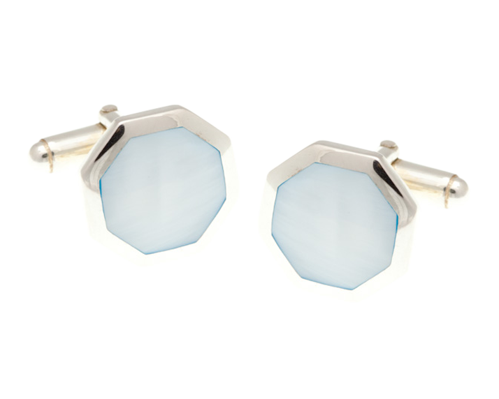 Octagonal Blue Mother Of Pearl .925 Solid Silver Cufflinks