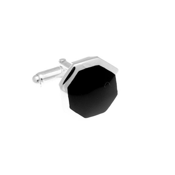 Octagonal Black Onyx And .925 Solid Silver Cufflinks by Elizabeth Parker England