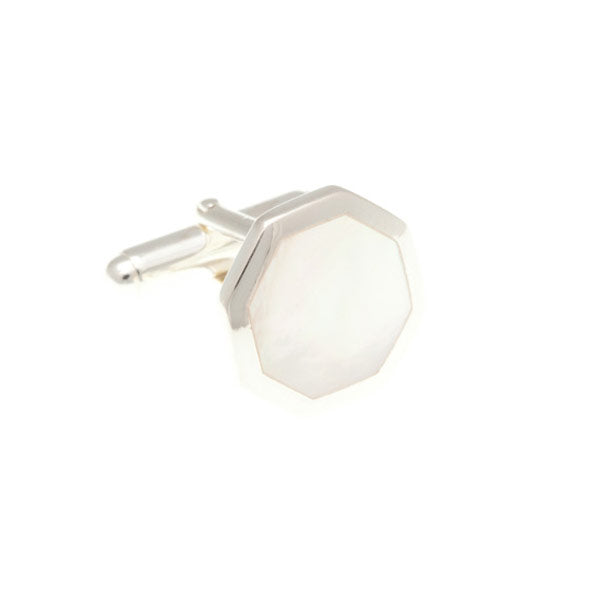 Octagonal Mother Of Pearl and .925 Solid Silver Cufflinks by Elizabeth Parker