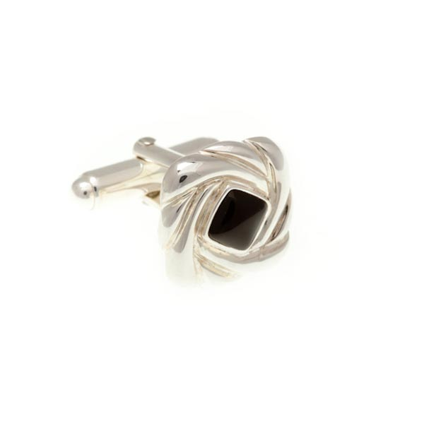 .925 Solid Silver Swirl Cufflinks With Black Onyx Centre by Elizabeth Parker