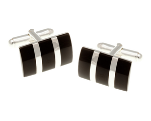 Solid Silver Rectangular Striped Onyx Cufflinks