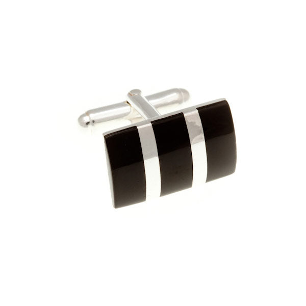 Silver Striped Black Onyx Cufflinks by Elizabeth Parker England