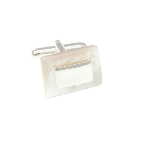 Mother Of Pearl and .925 Solid Silver Rectangular Cufflinks by Elizabeth Parker England