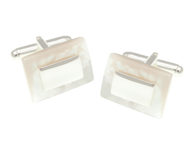 Solid Silver Rectangular Mother Of Pearl Cufflinks