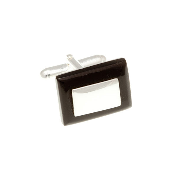 .925 Solid Silver And Black Onyx Rectangular Cufflinks by Elizabeth Parker England