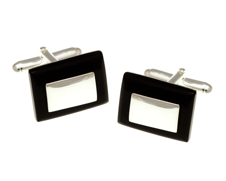 Solid Silver And Black Onyx Rectangular Cufflinks