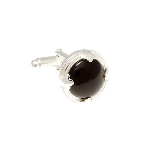 .925 Solid Silver Leaf Edged Round Black Onyx Cufflinks by Elizabeth Parker England