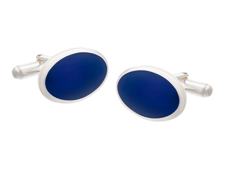 Timeless Classic Oval Solid Silver Lapis Lazuli Cufflinks