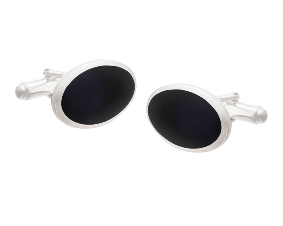 Timeless Solid Silver and Onyx Classic Oval Cufflinks