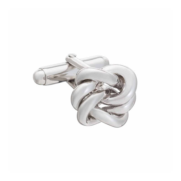 .925 Solid Silver Alternative Knot Cufflink by Elizabeth Parker
