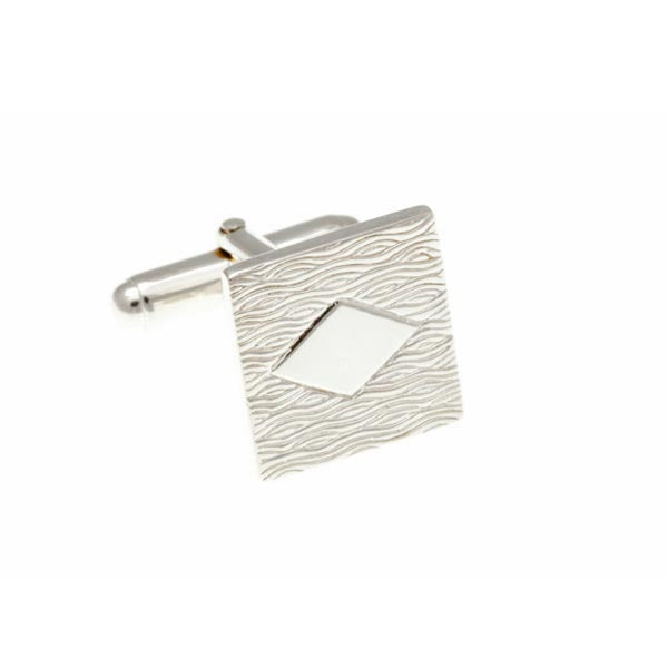 Solid Silver Square With Detail .925 Solid Silver Cufflinks - by Elizabeth Parker England