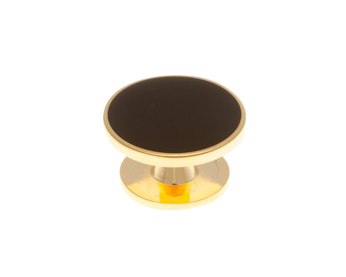 Single Black Gold Plated Dress Stud