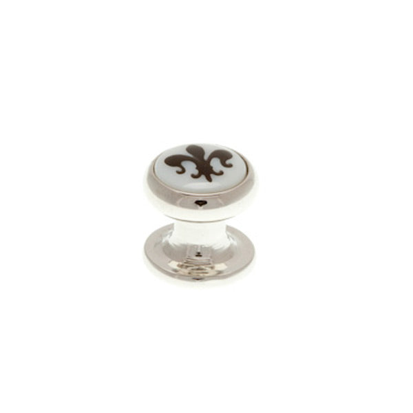 Single Round Mother of Pearl Fleur De Lys Dress Stud