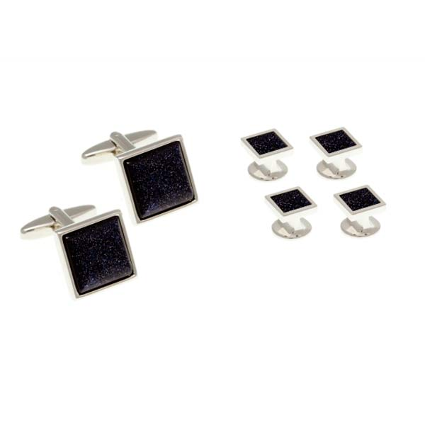 Blue Square Goldstone Dress Studs and Cufflinks Set By Elizabeth Parker