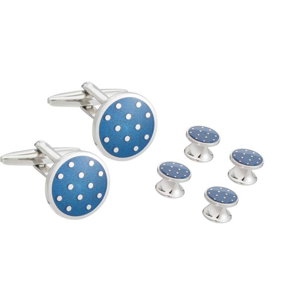Elizabeth Parker Blue Enamel Polka Dot Dress Studs and Cufflinks Set