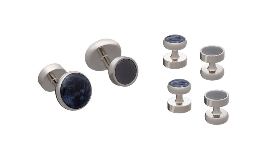 'All Change' Set of 4 Reversible Hematite Sodalite Dress Studs