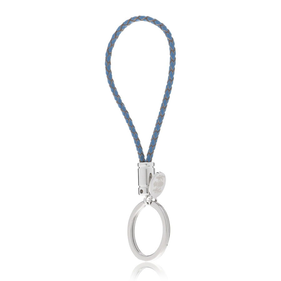 Braided Light Petrol Blue Genuine Leather Key Ring with Elizabeth Parker Crest Swing Tag by Elizabeth Parker England