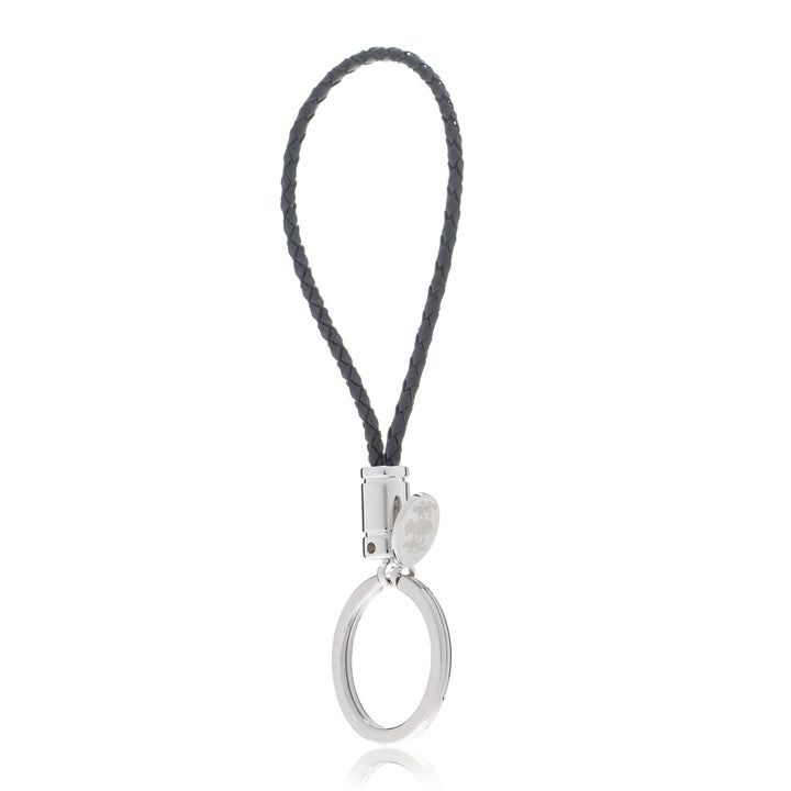 Braided Black Genuine Leather Key Ring with Elizabeth Parker Crest Swing Tag by Elizabeth Parker England