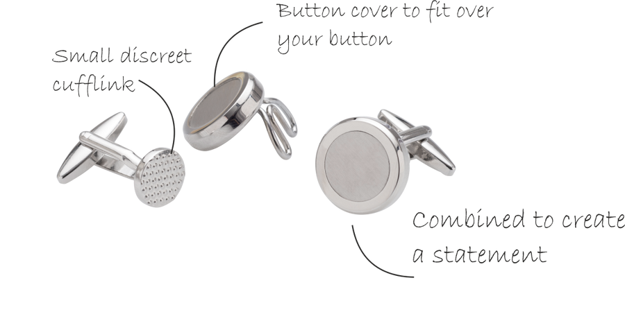 The Multifacet 3 in 1 Metal Button Cover Cufflinks