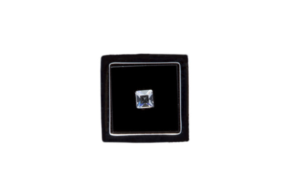 Black Square Metal Lapel Pin with clear crystal in centre