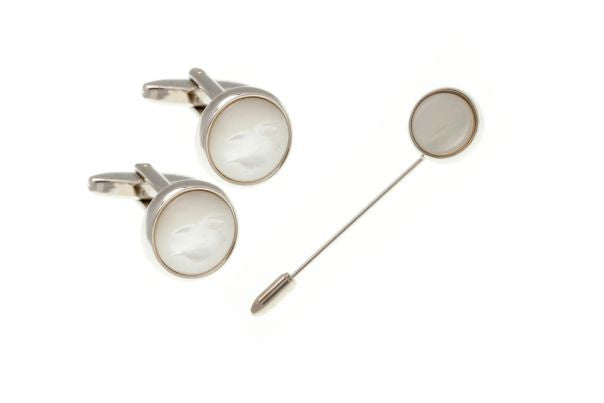 Round Mother Of Pearl Stick Pin & Cufflinks Set by Elizabeth Parker England