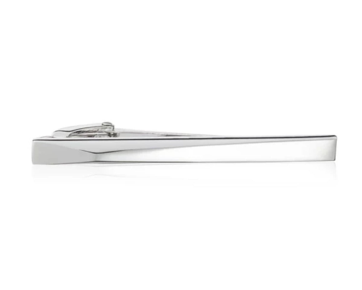 3D Polished Metal 55mm Tie Clip with a Raised Off-Centre Peak by Elizabeth Parker England