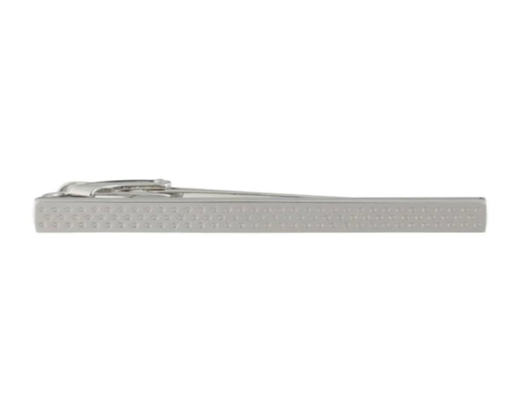 Dotted stripe polished metal tie clip by Elizabeth Parker
