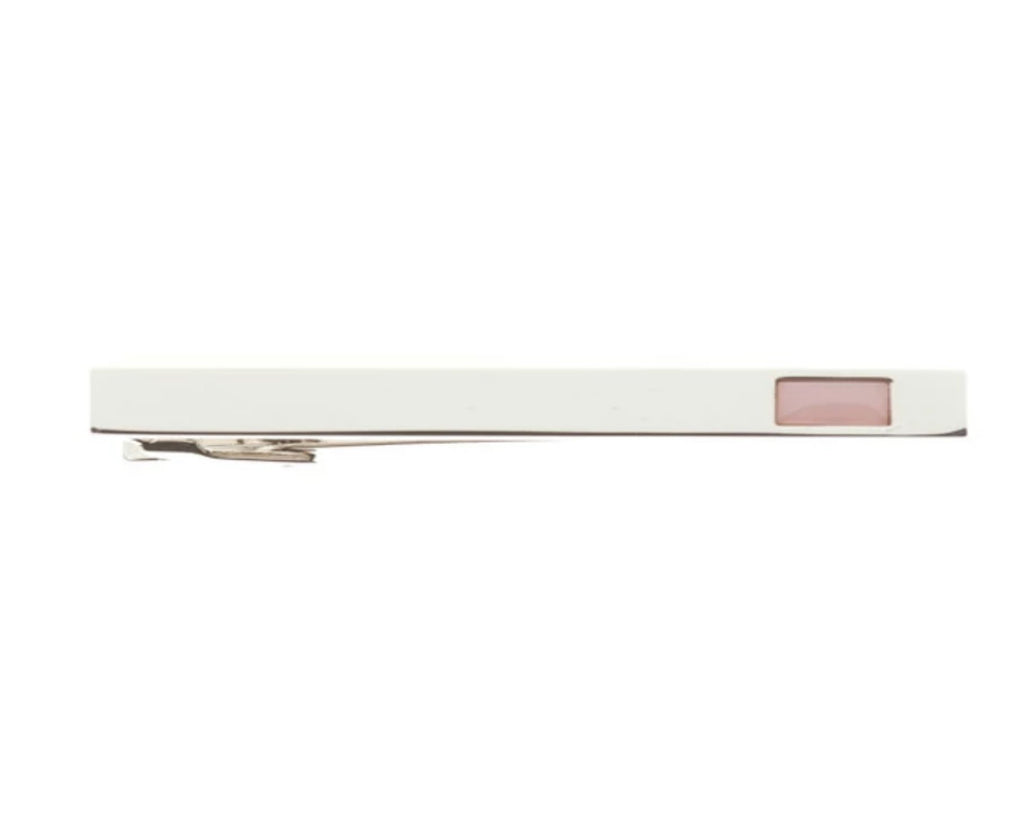 Polished Simply Metal Tie Clip With Sugar Pink Insert by Elizabeth Parker
