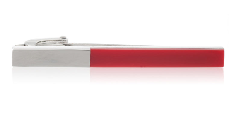 Red Acrylic & Polished Metal 55mm Tie Clip