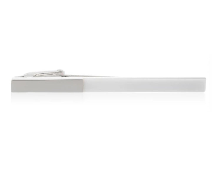 White Acrylic & Polished Metal 55mm Tie Clip by Elizabeth Parker