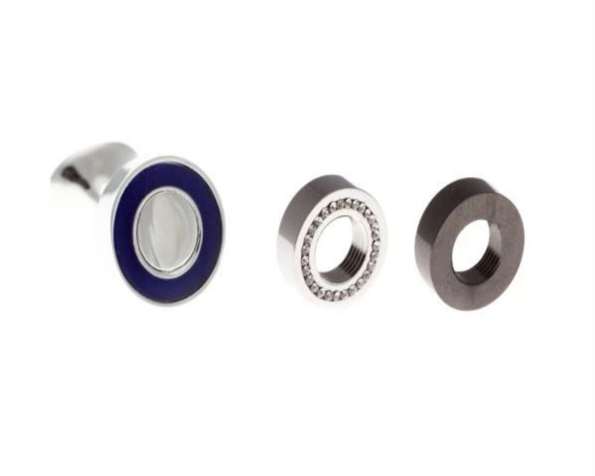Plain Metal With Set Of 3 Circular Screw-On Cufflinks Including Dark Navy Blue Clear Crystal & Gun Metal Grey AEPTW001 - by Elizabeth Parker